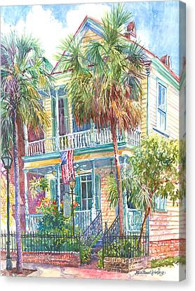 Charleston Houses Canvas Print - Poogan's Porch by Alice Grimsley