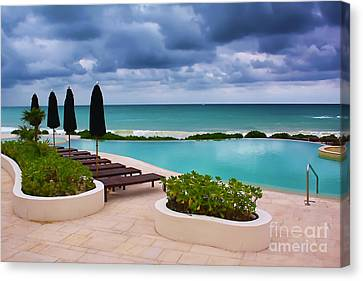 Canvas Print featuring the photograph Pool At Rosewood Mayakoba by Teresa Zieba