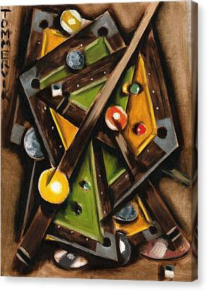 Abstract Cubism Pool Table Art Print Canvas Print by Tommervik