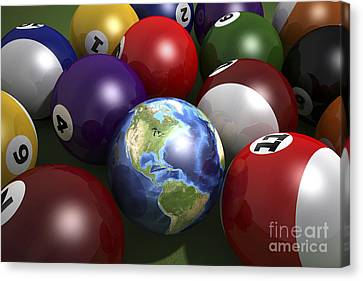 Pool Table With Balls And One Canvas Print by Leonello Calvetti