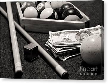 Pool - The Hustler -  Black And White Canvas Print