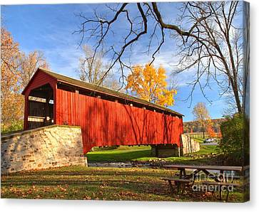 Poole Forge Covered Bridge - Lancaster County Canvas Print by Adam Jewell