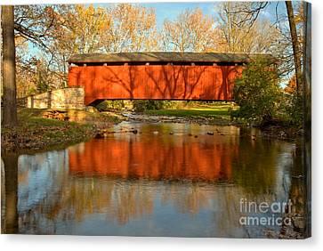 Conestoga Canvas Print - Poole Forge Covered Bridge Mirror by Adam Jewell