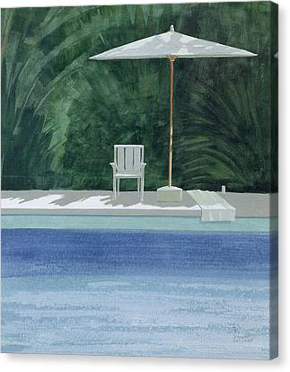 Poolside, 1994 Acrylic On Paper Canvas Print