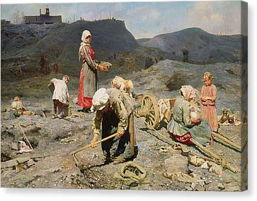 Poor People Gathering Coal At An Exhausted Mine Canvas Print by Nikolaj Alekseevich Kasatkin