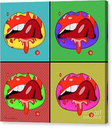 Caricature Canvas Print - Pop Art Lips  by Mark Ashkenazi