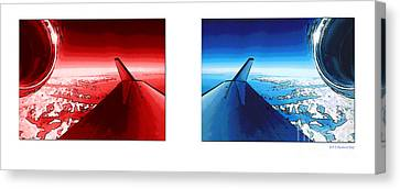 Canvas Print featuring the photograph Red Blue Jet Pop Art Planes  by R Muirhead Art