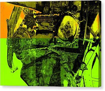 Pop Art Style Machine Gears Canvas Print by Ann Powell