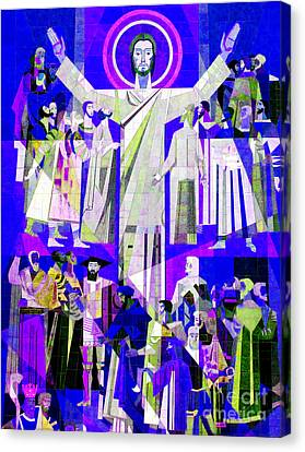 Pop Art Touchdown Jesus Mural At N D U Main Library Canvas Print by Tina M Wenger