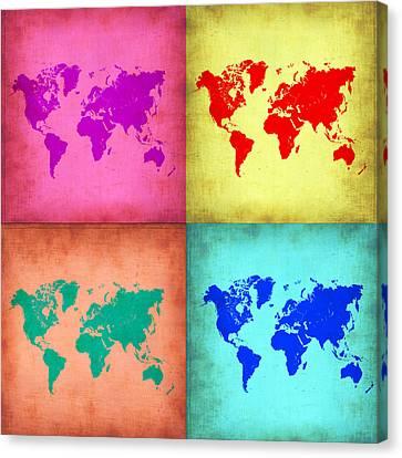 Pop Art World Map 1 Canvas Print by Naxart Studio