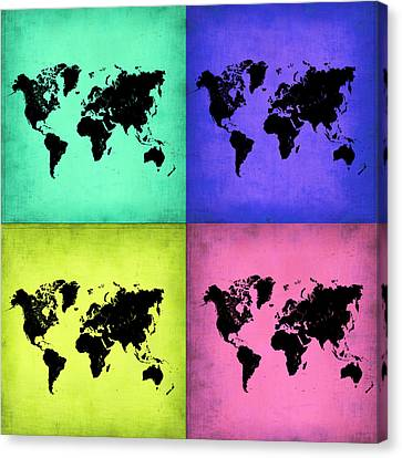 Pop Art World Map 2 Canvas Print by Naxart Studio
