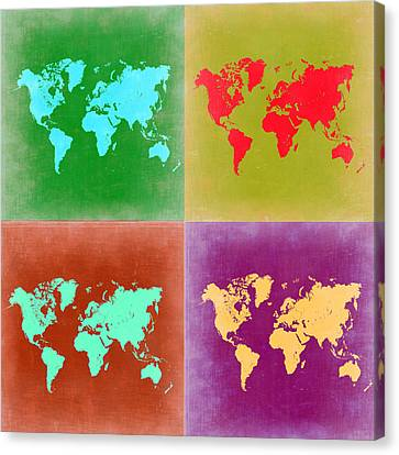 Pop Art World Map 3 Canvas Print by Naxart Studio