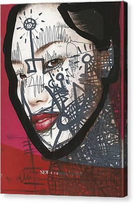 21st Century Canvas Print - Pop-graffiti Tattoo Model by Edward X