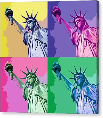 Pop Liberty Canvas Print by Delphimages Photo Creations