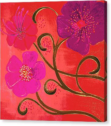 Pop Spring Purple Flowers Canvas Print by Linda Bailey
