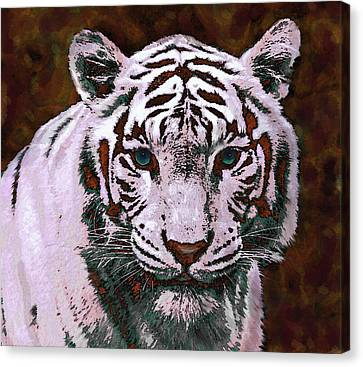 Popart White Tiger- Larger Canvas Print by Jane Schnetlage