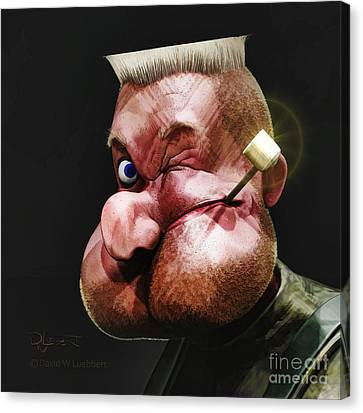 Canvas Print featuring the painting Popeye Portrait by Dave Luebbert