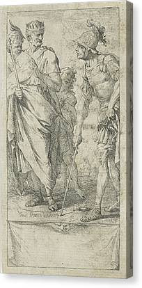 Popilius Laenas Draws A Circle, Jan Miel Canvas Print by Jan Miel