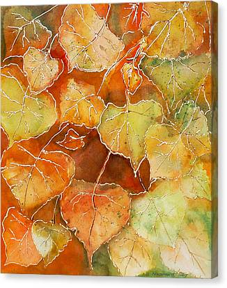 Poplar Leaves Canvas Print by Susan Crossman Buscho