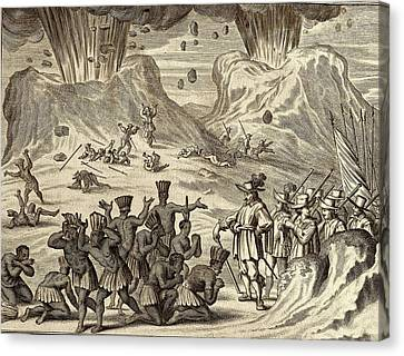 Conquistadores Canvas Print - Popocatepetl And Aztec Conquest by American Philosophical Society
