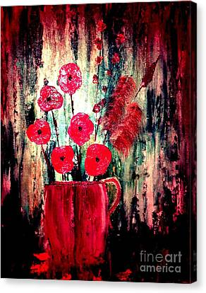 Canvas Print featuring the painting Poppie Mix by Denise Tomasura