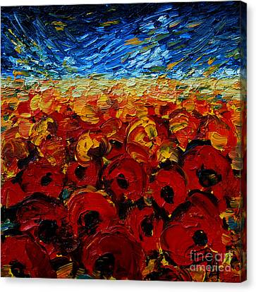 Abstract Expressionist Canvas Print - Poppies 2 by Mona Edulesco