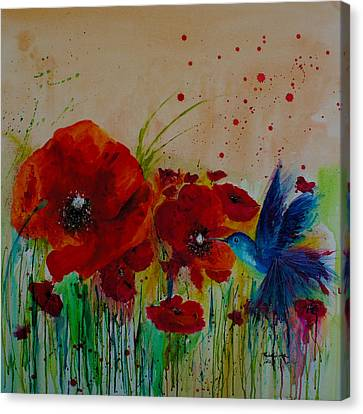 Poppies And A Blue Bird Canvas Print by Isabel Salvador