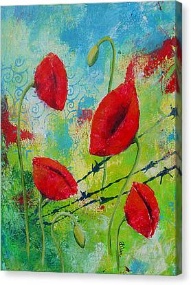 Poppies And Barbed Wire Canvas Print by Bitten Kari