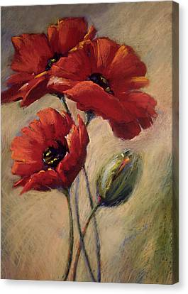 Poppies And Bud Canvas Print