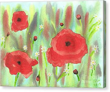 Poppies And Daisies Canvas Print by John Williams