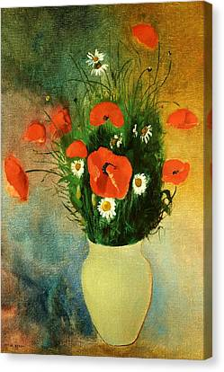 Poppies And Daisies Canvas Print by Odilon Redon