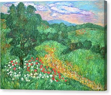 Poppies And Lace Canvas Print by Kendall Kessler