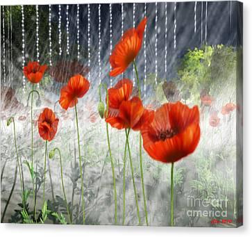 Canvas Print featuring the digital art Poppies And Pearls by Susanne Baumann