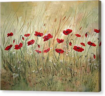 Canvas Print featuring the painting Poppies And Wild Flowers by Dorothy Maier