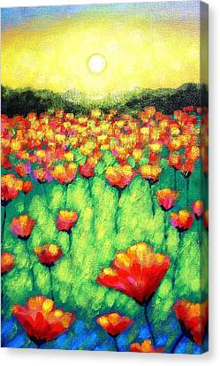 Poppies At Twilight    Cropped Version Canvas Print by John  Nolan