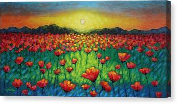Poppies At Twilight Canvas Print by John  Nolan