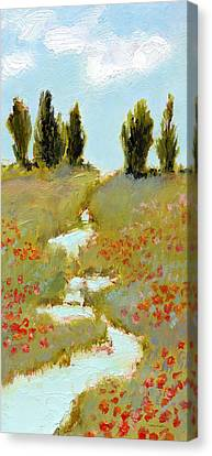 Poppies By A Stream Canvas Print