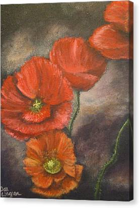Canvas Print featuring the painting Poppies by Dan Wagner