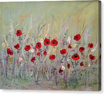 Canvas Print featuring the painting Poppies by Dorothy Maier