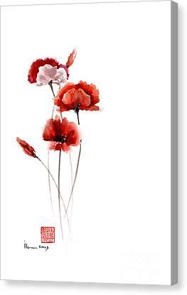 Poppies Flowers Pink Orange Red Poppy Flower Giclee Fine Art Print Of Watercolor Painting Canvas Print by Johana Szmerdt