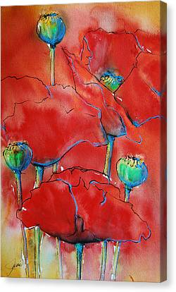 Canvas Print featuring the painting Poppies II by Jani Freimann