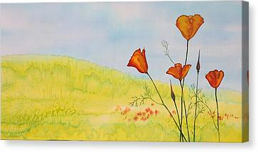 Poppies In A Field Canvas Print by Carolyn Doe