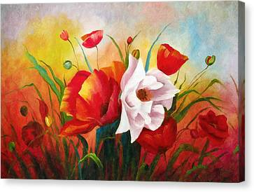 Poppies In My Garden Canvas Print by Georgiana Romanovna