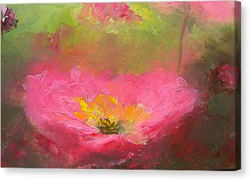 Poppies In The Garden Canvas Print by Jan Matson