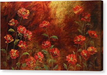 Canvas Print featuring the painting Poppies In The Garden by Vic  Mastis