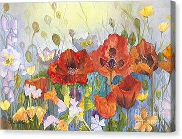 Poppies In The Light Canvas Print by Sandy Linden