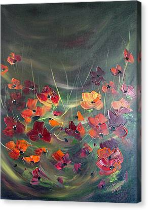 Canvas Print featuring the painting Poppies In The Shadow by Dorothy Maier
