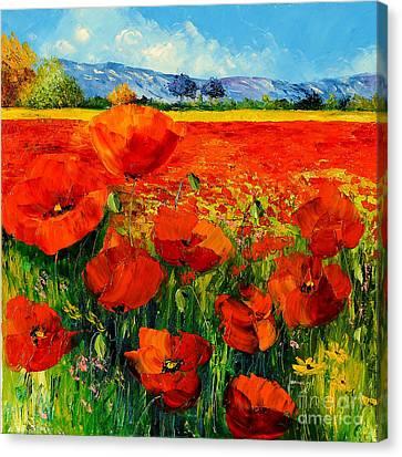 Rustic Canvas Print - Poppies by Jean-Marc Janiaczyk