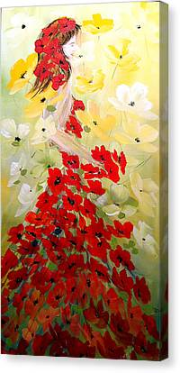 Canvas Print featuring the painting Poppies Lady by Dorothy Maier
