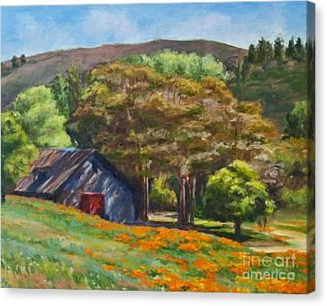 Poppies Near The Barn Canvas Print